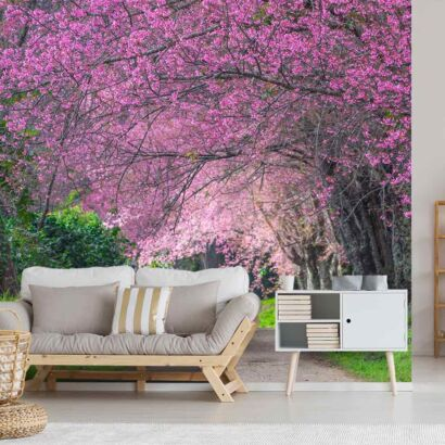 fotomural-camino-arboles-de-flores-fotomural