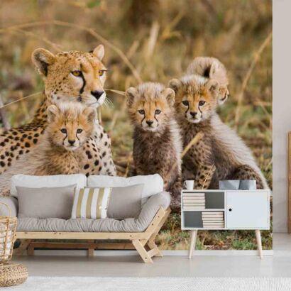 Fotomural Familia de Guepardos en la Selva