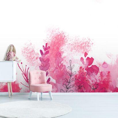 fotomural-flores-pintadas-rosadas-dormitorio