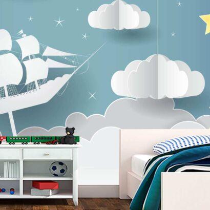 Fotomural Vinilo Infantil 3D Barco Nubes