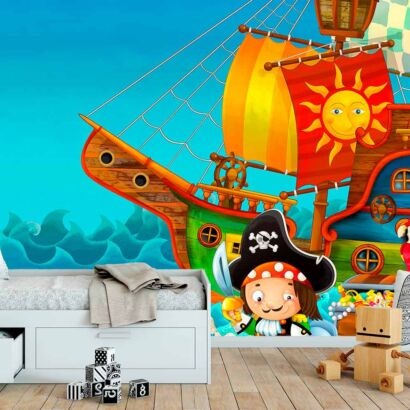 Fotomural Papel Pintado Barco Pirata Tesoro
