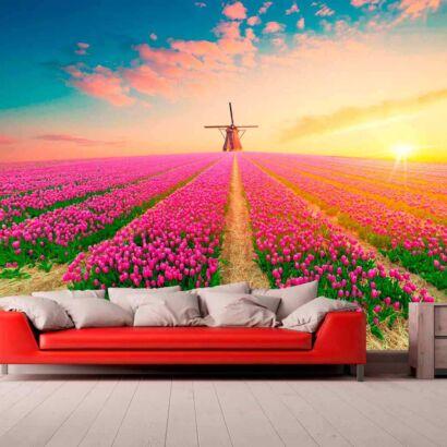 Papel Pintado Tulipanes Rosas