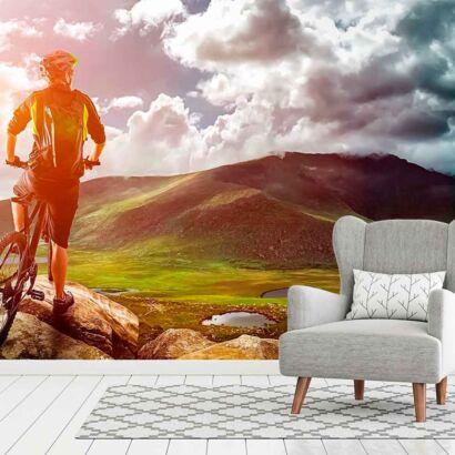 fotomural papel pintado ciclista montaña