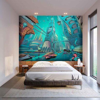 Papel Pintado Cómic Ciudad Bajo el Mar