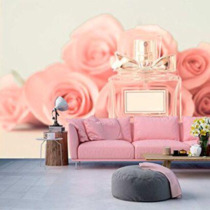 fotomural papel pintado frasco colonia rosa
