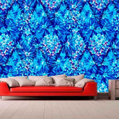 Papel Pintado Moderno Floral Azul
