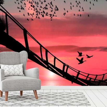 fotomural papel pintado puente colgante madera