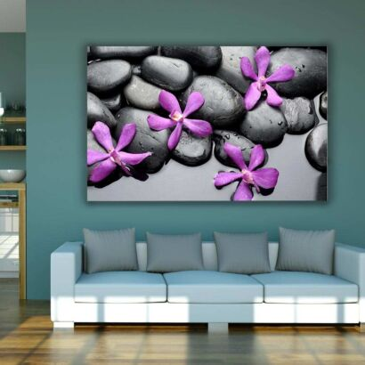 Fotocuadro PVC Zen Piedras Negras Flores Moradas