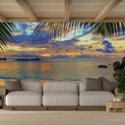 Fotomural Vinilo Amanecer Playa Tropical