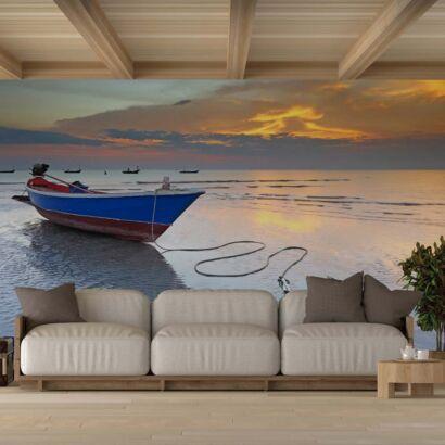 Fotomural Vinilo Atardecer en Barco Pesca
