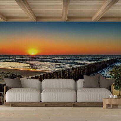Fotomural Vinilo Atardecer Playa Mar Báltico