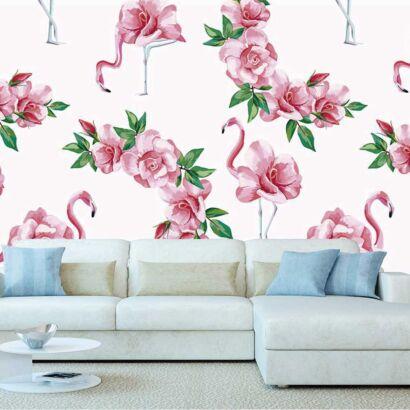 Fotomural Vinilo Flamencos Florales Rosas