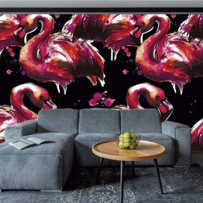 Fotomural Vinilo Flamencos Rosados Pintura