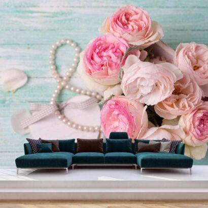 Fotomural Vinilo Floral Ramo Rosas
