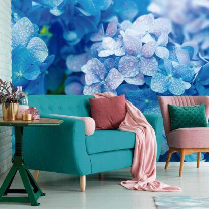 Fotomural Vinilo Hortensias Azules