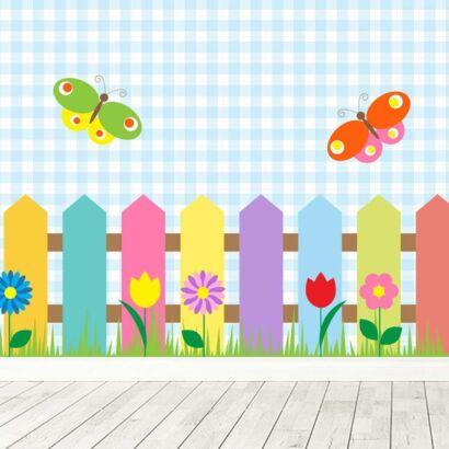 Fotomural Vinilo Infantil Valla Madera Multicolor