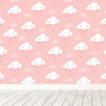 Fotomural Vinilo Infantil Nubes Corazones