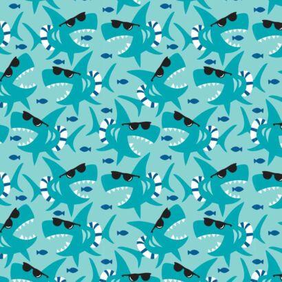 Fotomural Vinilo Infantil Tiburones Gafas de Sol Diseño