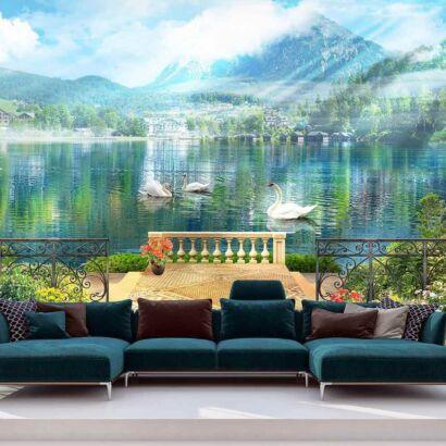 Papel Pintado Lago Cisnes