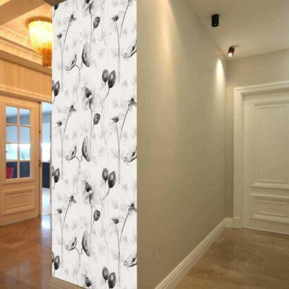 Cenefa Vertical Lirios en Blanco y Negro