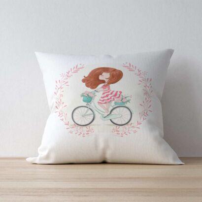 Cojín Niña Bicicleta Flores