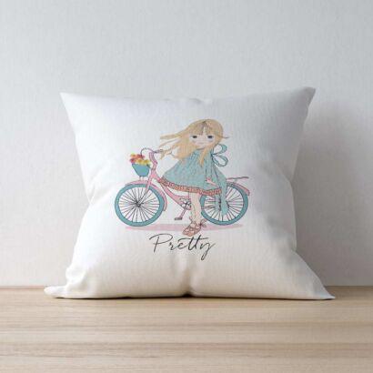 Cojín Niña Bicicleta Pretty