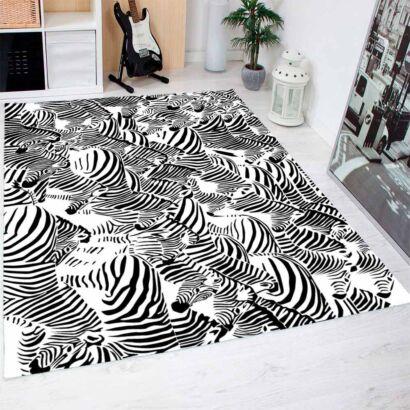 Alfombra PVC Estampado Cebra Blanco Negro