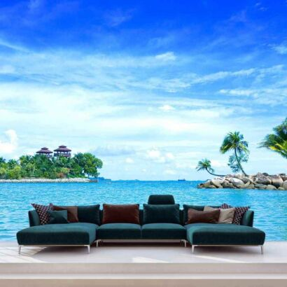 Papel PintadoPalmeras Isla Playa