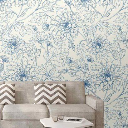 Papel Pintado Arte Floral Azul