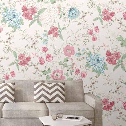 Papel Pintado Arte Motivo Floral Rosa