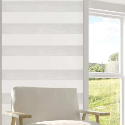 Cenefa Vertical Papel Pintado Franjas Horizontales Blanco Gris