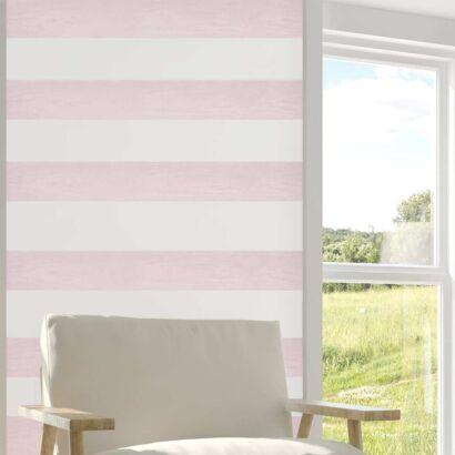Cenefas Verticales Papel Pintado Franjas Horizontales Blanco Rosa