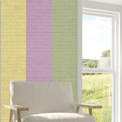 Cenefa Vertical Papel Pintado Ladrillos Multicolor