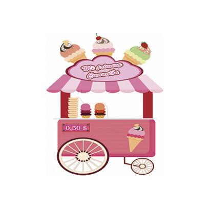 photocall carrito helados rosa