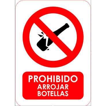 Señal Prohibido Arrojar Botellas