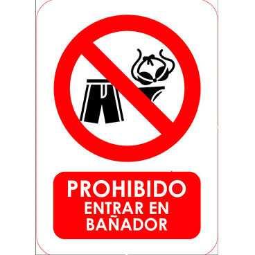 Señal Prohibido Entrar en Bañador