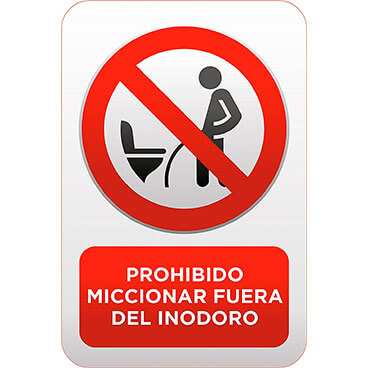 Señal Prohibido Miccionar Fuera del Inodoro
