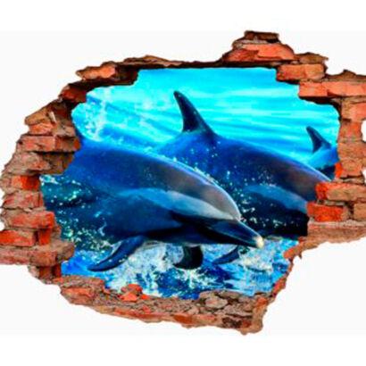 vinilo-3d-delfines-oceanicos