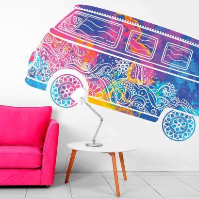 Vinilo Decorativo Espiritual Furgoneta Hippie Colores