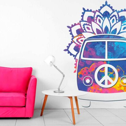 Vinilo Decorativo Espiritual Furgoneta Hippie Flores