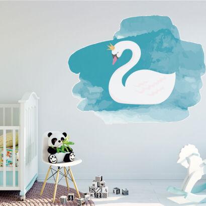 Vinilo Decorativo Infantil Cisne Acuarela