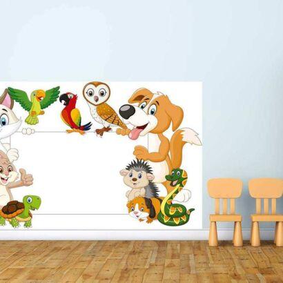 Vinilo Decorativo Pizarra Infantil Animales Domesticos