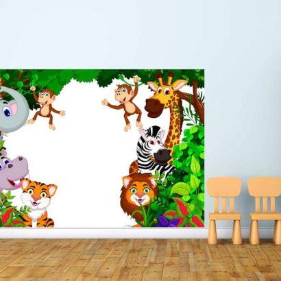 Vinilo Decorativo Pizarra Infantil Animales Selva