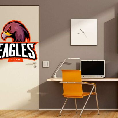 Vinilo Decorativo Puerta Eagles Team