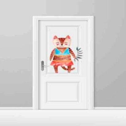 vinilo-decorativo-puerta-infantil-gata