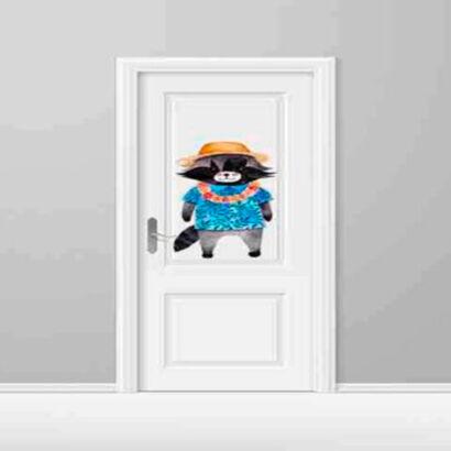 vinilo-decorativo-puerta-infantil-mapache