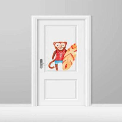 vinilo-decorativo-puerta-infantil-mono-surf