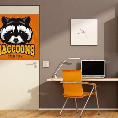 Vinilo Decorativo Puerta Raccoons Sport Team