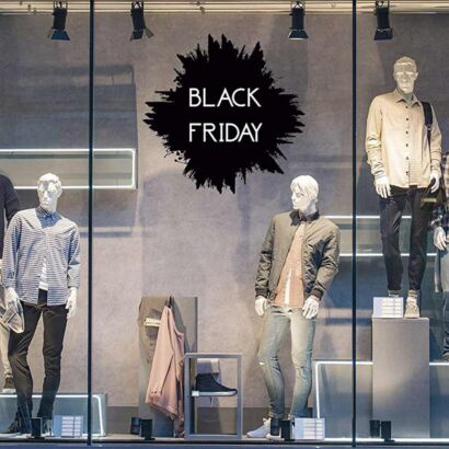 Vinilo Escaparate Black Friday Negro Blanco