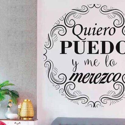 Vinilo Frases Quiero Puedo y Merezco